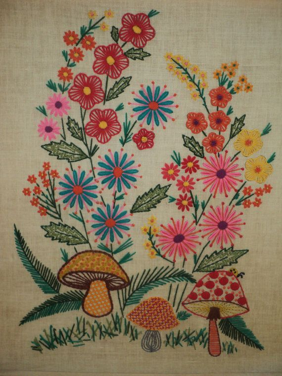 Vintage Floral Crewel Embroidered Still Life with bright ...
