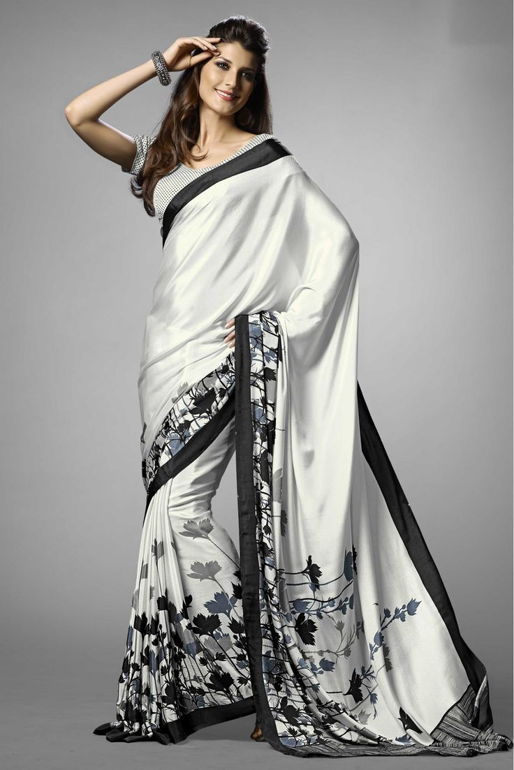 Black and White Colour Crepe Fabric Saree Comes With Matching Blouse. This Saree Is Crafted With Printed Work. This Is Casual Wear Light Weight Saree. The Blouse Which Can Be Stitched Up To Size 44....