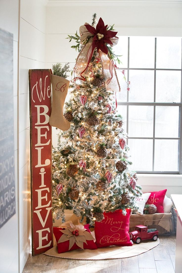 """Burlap Christmas Tree Skirt with Red and White French Ticking, Large Rustic Christmas Tree Skirt Approx. 60"""""""
