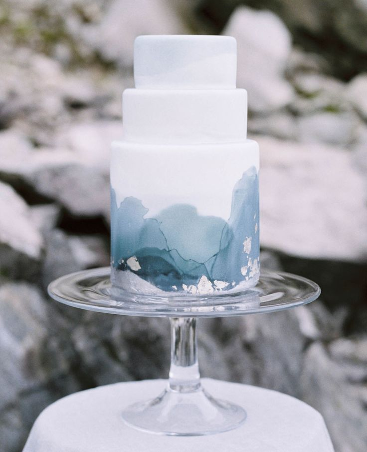Blue watercolor-inspired cake