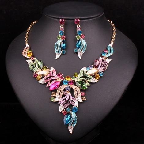 New Fashion Indian Rhinestone Bridal Jewelry Set Wedding Prom Party Ac – US MA…