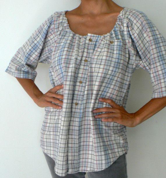 recycler une chemise d'homme en blouse femme