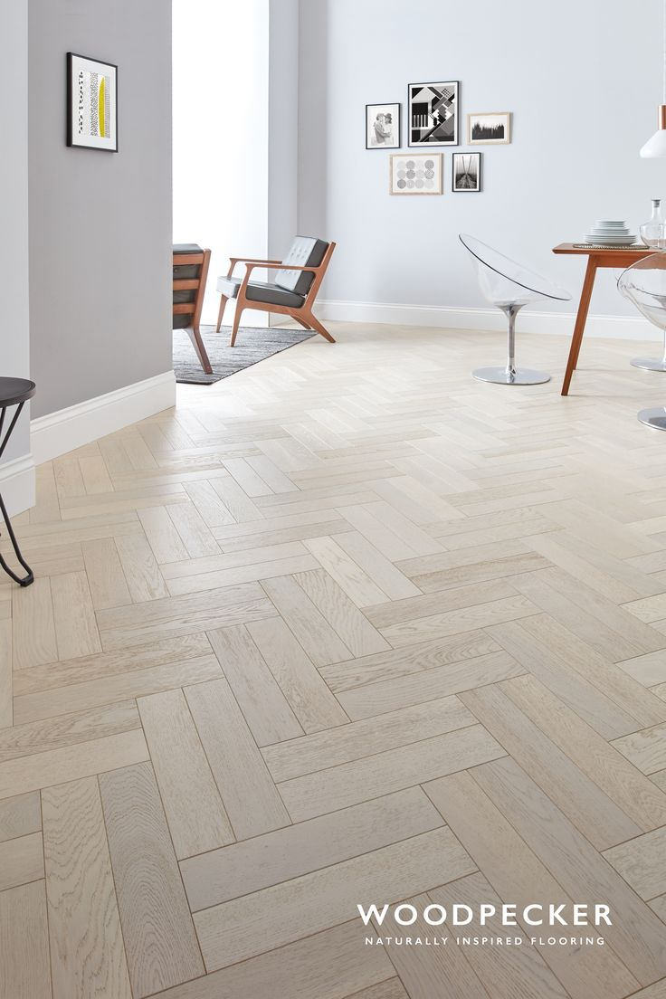 Barefoot wander along the pale, rolling tones of this graceful white parquet floor. Every block sings with flaxen hues. Get a free sample.