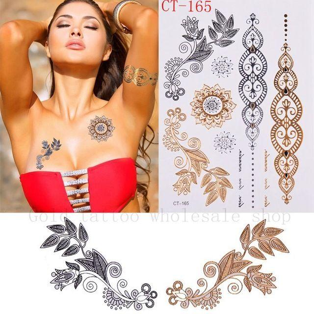 Ouro proteção da pintura de corpo pintura arte corpo tatuagens flash de ouro diy 3d grande tatuagem temporária tatuagens do árabe