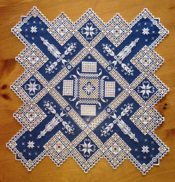 Stunning+Hardanger+Table+Cloth+royal+blue+and+by+norwegianneedle,+$250.00