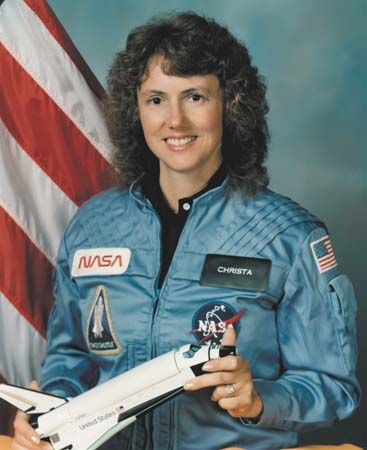 Christa McAuliffe (1948-1986) was an American teacher from Concord, New Hampshire, who was selected from 11,000 candidates to become the  first Teacher/Civilian Specialist for the STS-S1-L mission.  On January 28, 1986, just 73 seconds after launch,  the Space Shuttle Challenger spacecraft disintegrated and she was one of the seven crew members killed in the disaster.