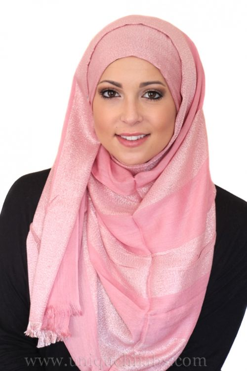 Long Hijab Striped Shimmer-Pink
