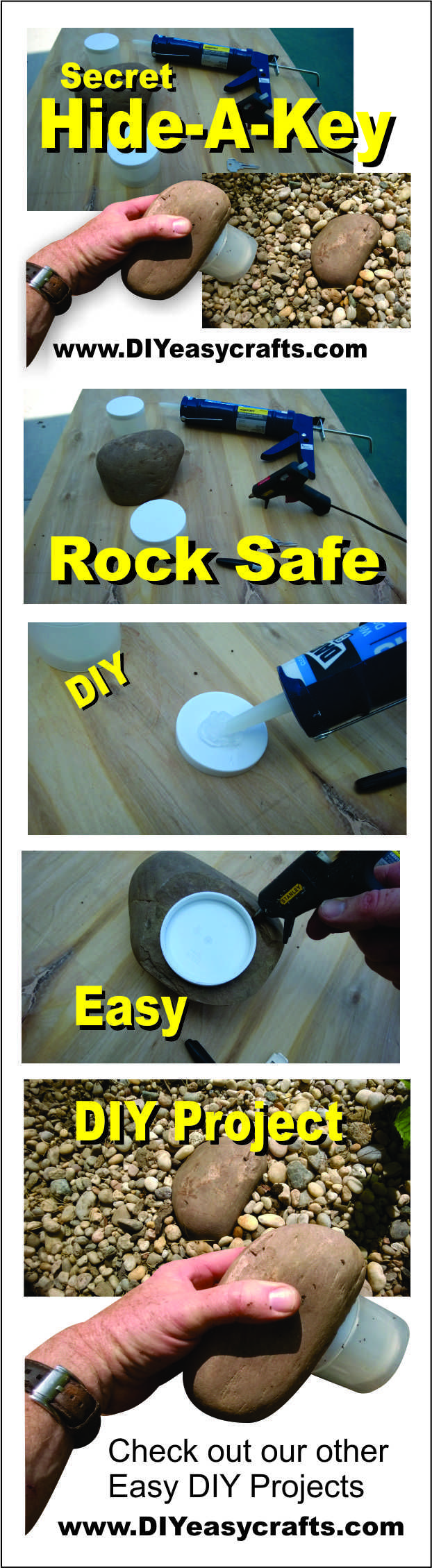 Secret Hide a Key Rock Safe. Easy DIY How to make project. All you need to get started is a small plastic screw top container, silicone, a hot glue gun and a rock. Great place to hide an extra front door key. Check out our other how to projects.  http://www.diyeasycrafts.com/