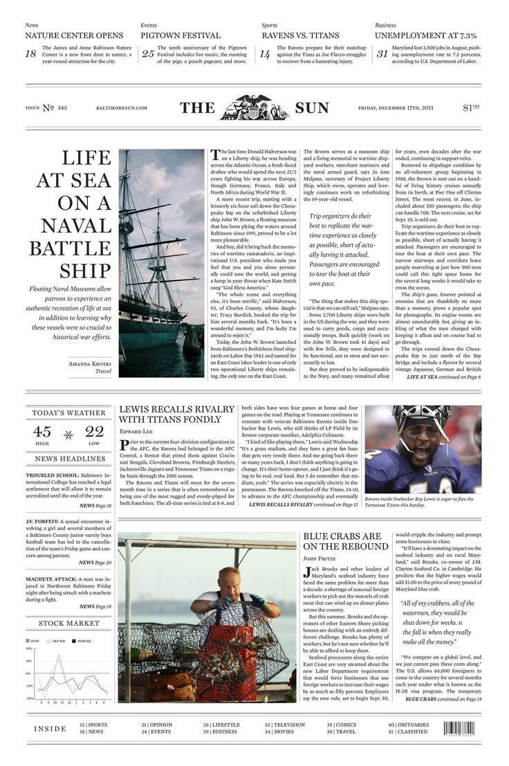 Hypothetical Redesign of Front Page for the Baltimore Sun by Bethany Heck