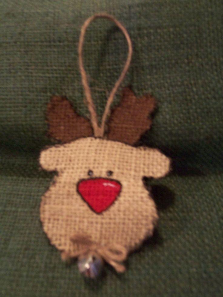 burlap christmas ornaments pictures | Burlap Reindeer Face Christmas Ornament. $2.00, via Etsy. | Christmas