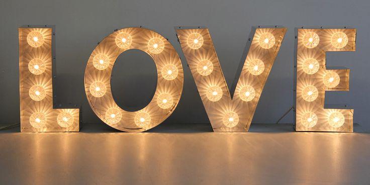 LOVE light bulb letters