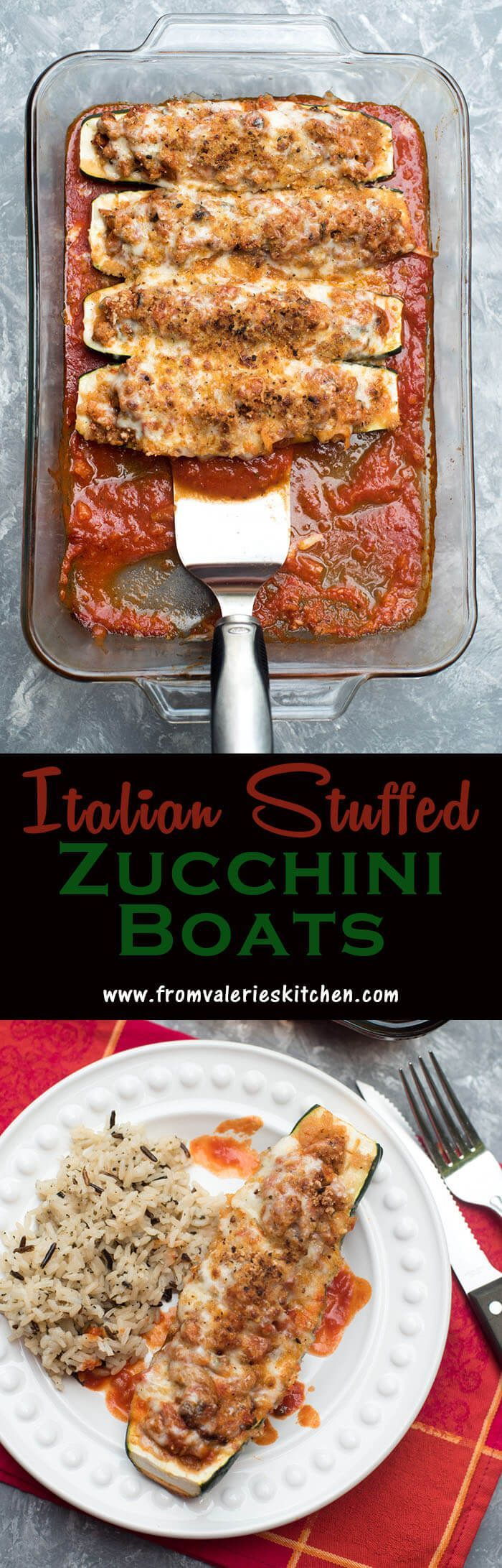 Italian Stuffed Zucchini Boats ~ low carb yet delicious! W/out the pasta. http://www.fromvalerieskitchen.com