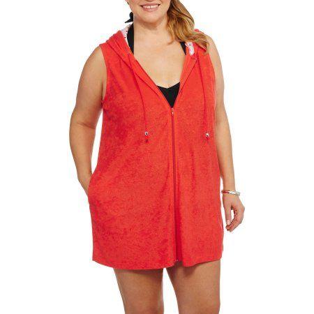Catalina Women's Plus-Size Zip-Front Hooded Terry Swim Cover-Up, Orange