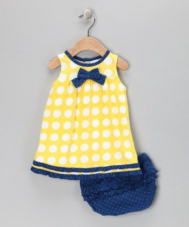 Take a look at this Yellow & Blue Polka Dot Dress & Diaper Cover - Infant & Toddler by Absorba on #zulily today!