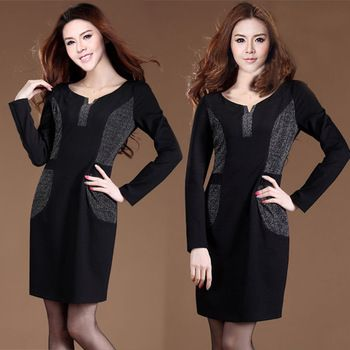 Plus Size Spring And Winter Women's Patchwork Office Lady O-Neck Long-Sleeve Pencil One-Piece Black Dress Free Shipping