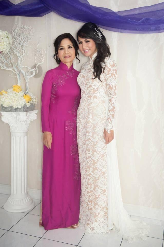 Custom modern Wedding Lace Ao Dai by www.thainguyencollections.com