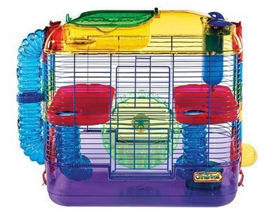 Critter Trail Cage for hamsters and gerbils with two levels of fun! A great and colorful place for small pets to climb, explore and exercise. Features of the Two Level Hamster/Gerbil Habitat: - Two fu