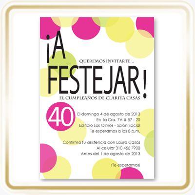 Tarjeta de Cumpleaños - ¡A Festejar! · Invitación para: Cumpleaños de mujeres que celebren sus 40 - 50 - 60 - 70 - 80 - 90 años. · Diseñada por: LunazulPrints. · Tamaño de la Invitación: 12 cms x 17 cms postal vertical. · Papel: Star Dreams Cristal de 240 grms importado. · Impresión: Digital, full color a una sola cara.