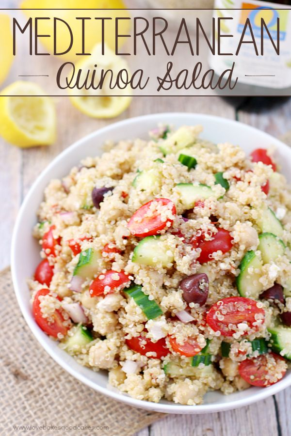 This Mediterranean Quinoa Salad makes the perfect lunch - it's packed with protein and plenty of fresh veggies! #ad: