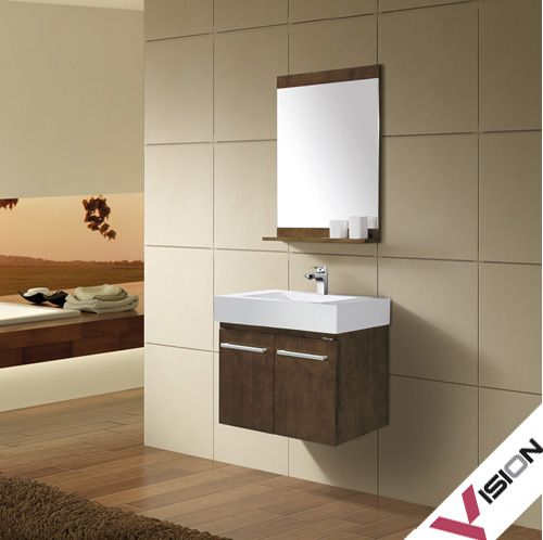 Superb Design Furniture Featuring Brown Laminated Wooden Wall Mounted Small  Bathroom Vanity Also Mirror And White Ceramic Sink Countertop With  Stainless Faucet Design