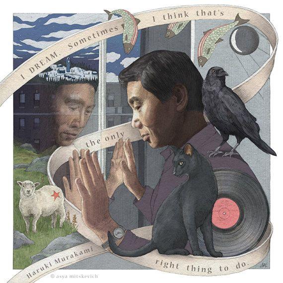 Haruki Murakami by asyamitskevich on Etsy