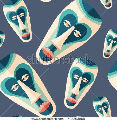 Festive ritual mask flat icon seamless pattern. #vectorpattern #patterndesign #seamlesspattern