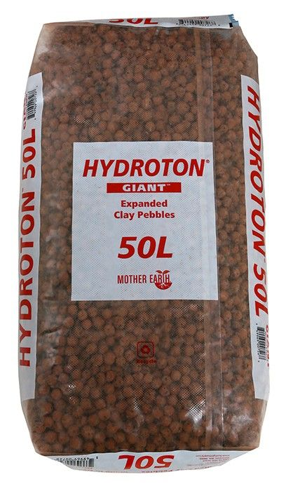 Mother Earth Hydroton Giant Expanded Clay Pebbles, 50 Liter Bag