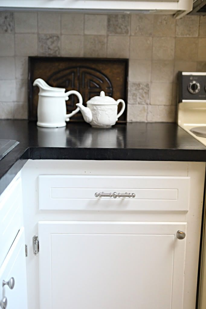 Concrete looking countertops cover ugly laminate