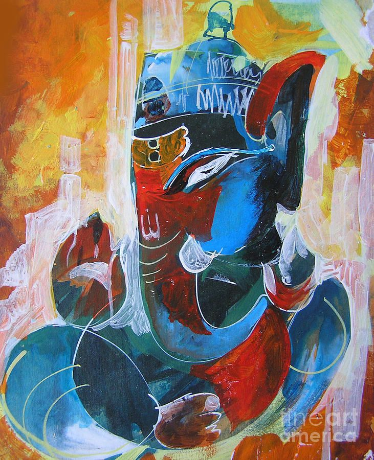 Graphical Lord Ganesha Painting & Fine Art Print