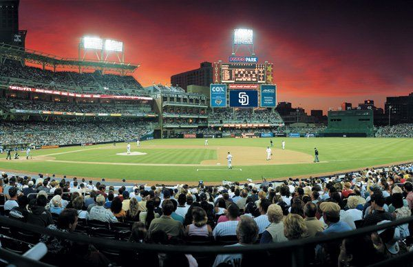 A beautiful sunset at Petco Park home of the San Diego Padres and right across the street from the San Diego Marriott Gaslamp Quarter.