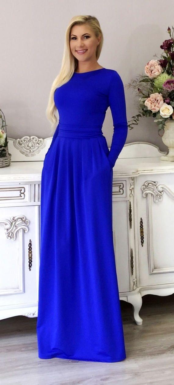 Royal Blue Maxi vrouwen kleden lange mouwen zakken