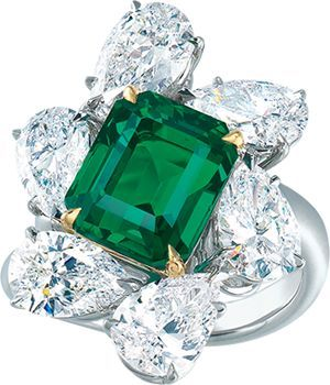Ronald Abram – 4.00 carat Emerald Cut Colombian Emerald and Diamond Ring