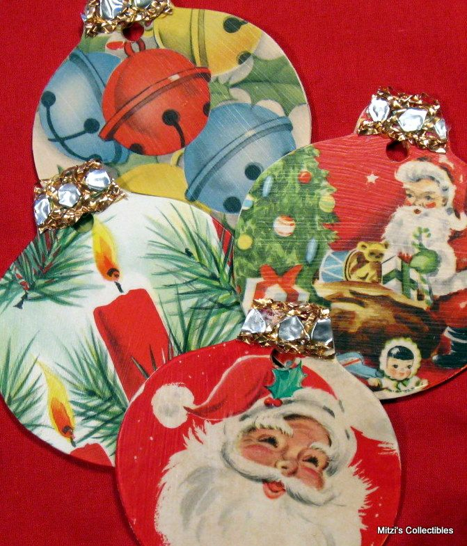 DIY Christmas Ornaments or Package Tags - Purchase wood ornament shapes at any craft store. Use Modge Podge to attach vintage Christmas wrapping paper to the ornament shapes. Finish off the top of the ornament with ribbon or trim. Use as ornaments or Christmas present tags.