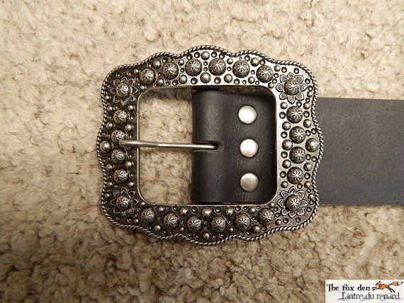 2'' wide heavy leather long belt with massive by lantredurenard