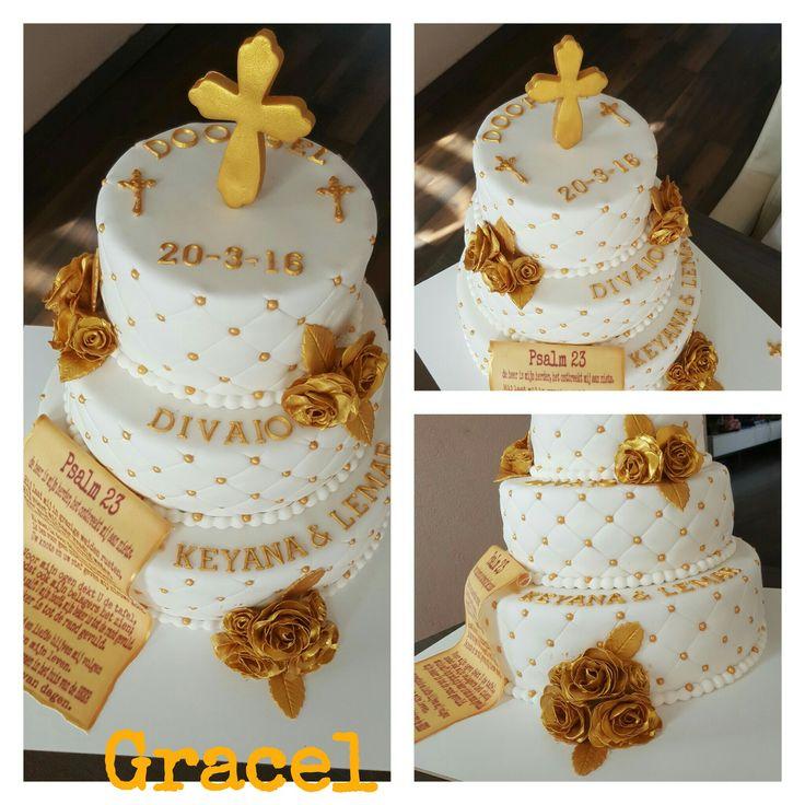 gold white christening cake