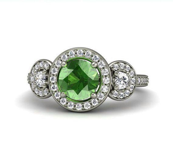 Green Sapphire Engagement Ring 3 Stone Round Diamond Halo Sapphire Ring 14K Gold Custom Engagement Ring