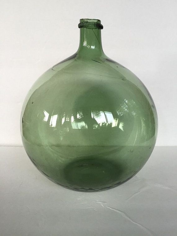 Vintage Large French Glass Green Demijohn Seamless by post50modern