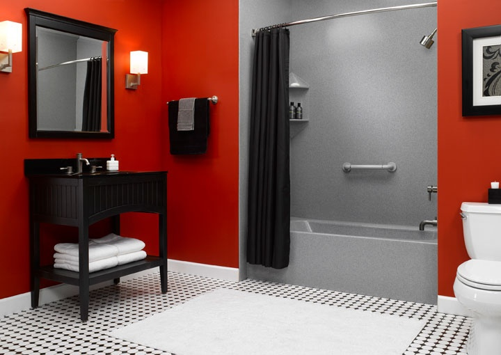 red bathroom by bath transformationsmaybe the floor and paint cabinets black - Red And Black Print Bath Towels
