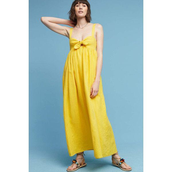 Mara Hoffman Teresina Linen Dress ($388) ❤ liked on Polyvore featuring dresses, yellow, linen maxi dresses, multi color maxi dress, multi colored dress, blue maxi dress and multi-color dresses