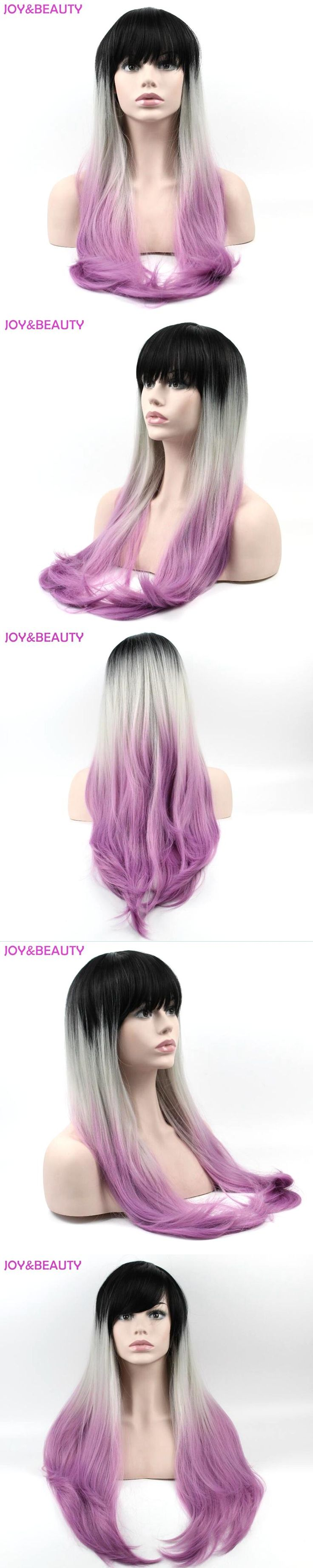 JOY&BEAUTY Hair Cosplay Wig Ombre Long Kinky Straight Wig High Temperature Fiber Natural black/Gray/Purple Wig Long 27.5inch