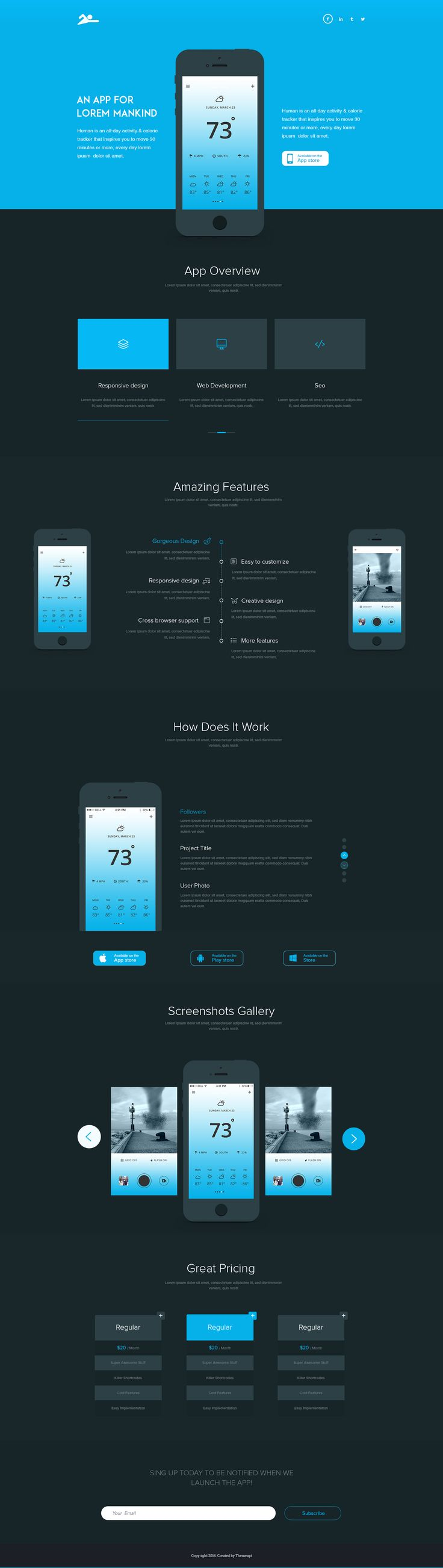 Fresh app landing page dark version