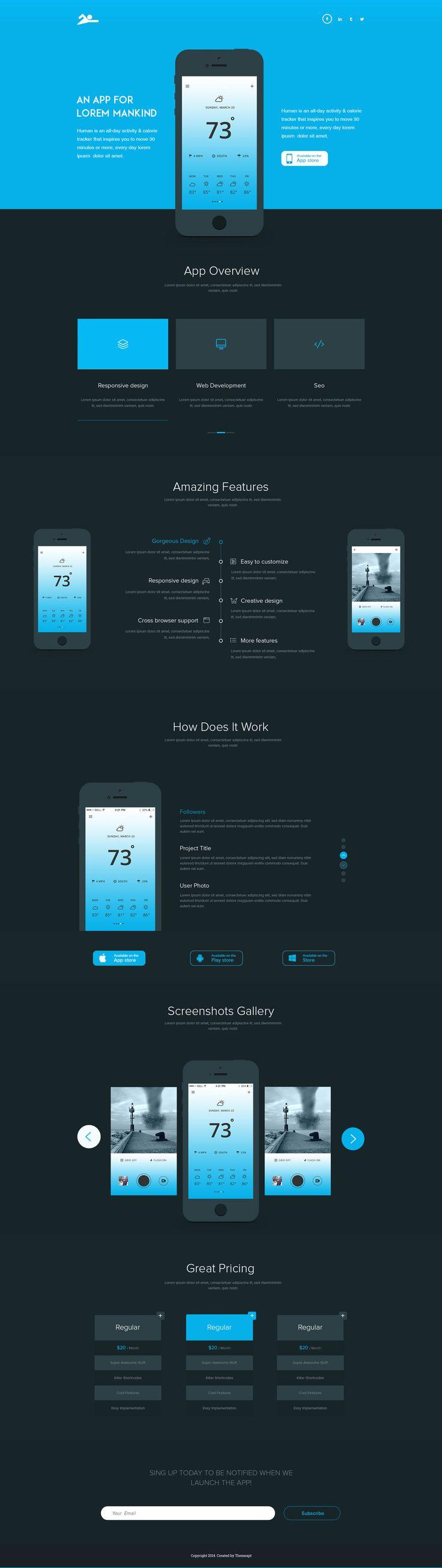Fresh app landing page dark version