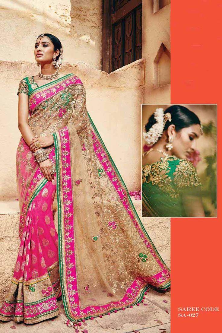 Cream Net Bridal Saree