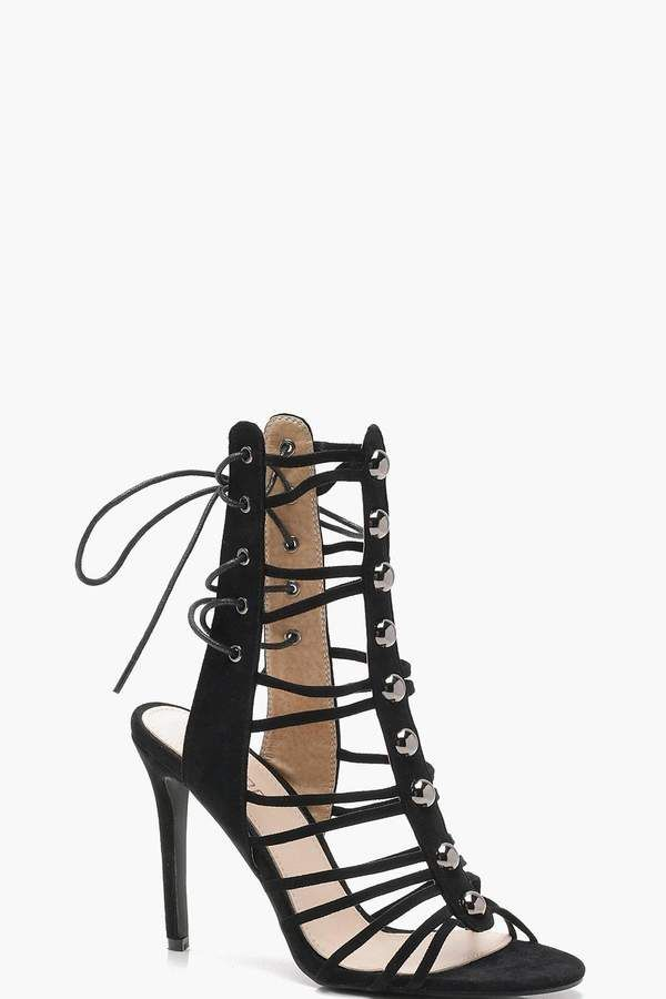 24ba6ab46f9cd boohoo Amy Cage Lace Up Back Gladiator Sandals
