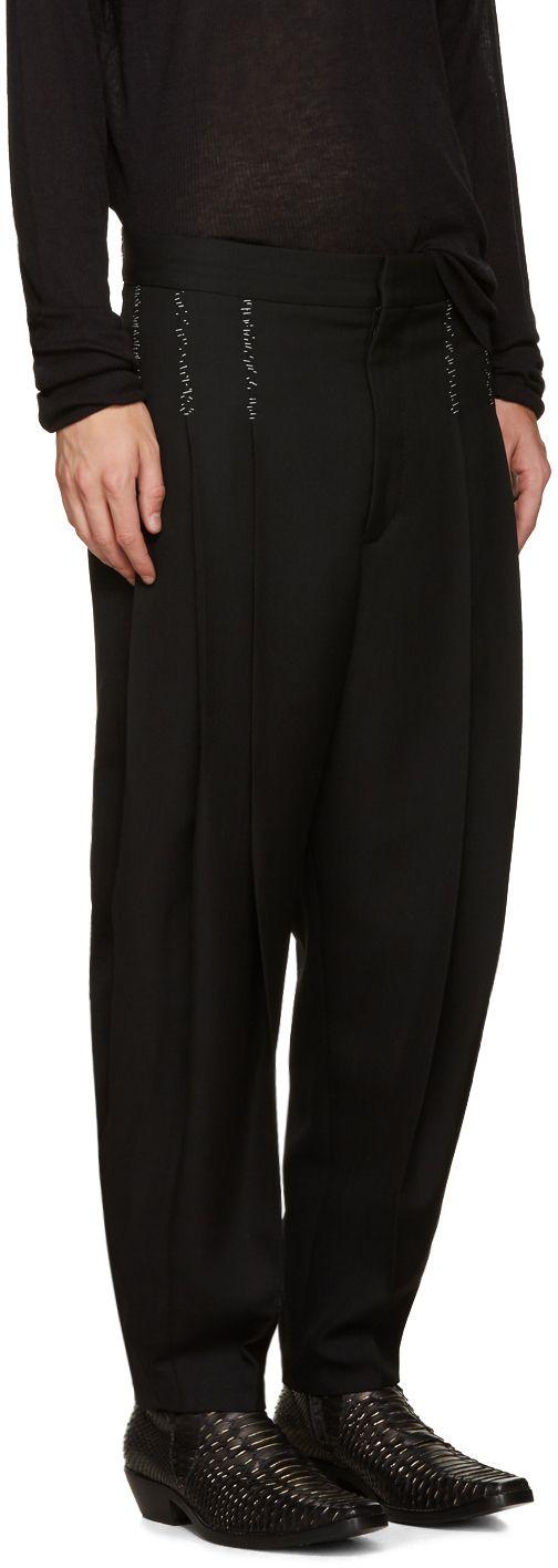 Haider Ackermann: Black Topstitched Orbai Trousers | SSENSE