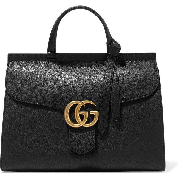 Gucci GG Marmont textured-leather tote (£1,735) ❤ liked on Polyvore featuring bags, handbags, tote bags, gucci, bolsas, totes, black, gucci tote bag, gucci tote and cell phone pouch