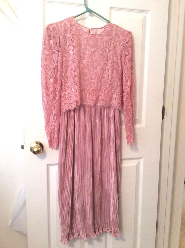 Joan Leslie Evenings Womens Formal Dress Pink Lace Top Pleated Skirt Sz 4
