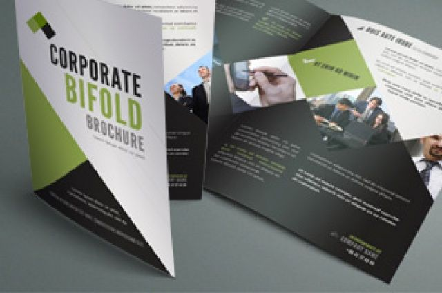 A nice clean 11 x 8.5 bi-fold corporate brochure with a contemporary  design. You can swap photos and change colors...