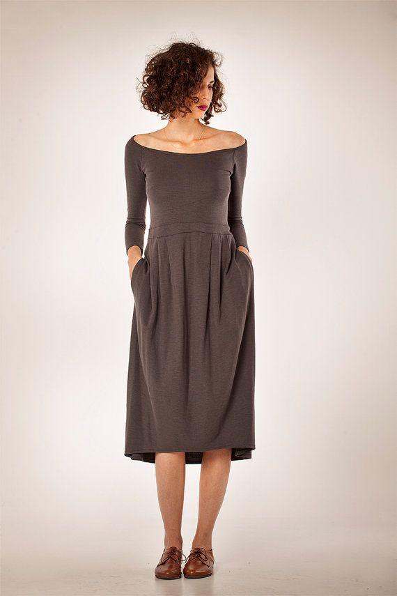 SALE 30 OFF Soft midi dress with beautiful neckline by YaelAdmoni, ₪385.00