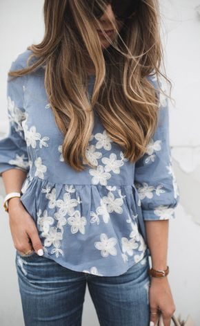 Embroidered chambray summer top